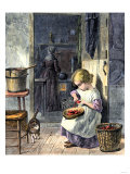 Young Girl Peeling Apples for Her Mother Giclee Print