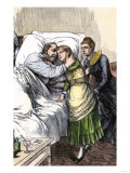 President James Garfield, Dying from an Assassin's Bullet, Greeted by Wife and Daughter in Elberon Giclee Print