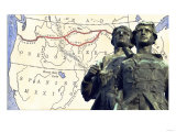 Meriwether Lewis and William Clark with a Map of their Expedition across Louisiana Territory Giclee Print