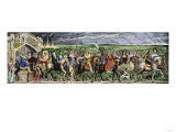Pilgrims Embarking on their Journey in Chaucer's Canterbury Tales Giclee Print