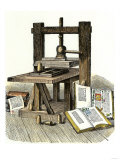 Gutenberg's Printing Press, Mainz, Germany, 1450s Reproduction procédé giclée