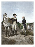 First Meeting of George Washington and Alexander Hamilton, Wearing Continental Army Uniforms Giclee Print