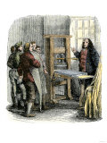 Benjamin Franklin at His Printing Press, Philadelphia Reproduction procédé giclée