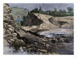 Empty Reservoir Behind the Broken South Fork Dam That Caused the Johnstown Flood in Pennsylvania Giclee Print
