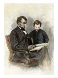 President Lincoln Reading to His Son, Tad Giclee Print