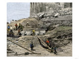 Archaeologists Excavating Ancient Ruins on the Acropolis, Athens, 1890s Giclee Print