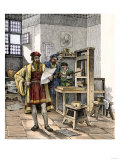 Gutenberg and Fust with the First Printing Press, Germany, 1450s Giclee Print