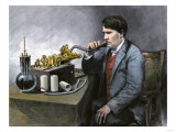 Thomas Edison Speaking Through His Perfected Phonograph Giclee Print