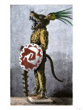 Aztec Tiger Knight in a Costume of Cotton and a Helmet Made of Wood, from a Model in Spain Giclee Print