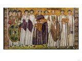 Justinian and His Ministers with Maximian, Bishop of Ravenna Giclee Print