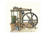 Schematic Drawing of James Watt's Steam Engine Giclee Print