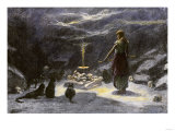 Woman Practicing Sorcery with Black Cats as Companions Giclee Print