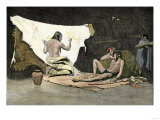 Native American Shaman Using Pictures on a Buffalo Robe to Cure a Young Man's Illness Giclee Print