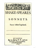 Title Page of Shakespears Sonnets, Giclee Print