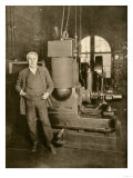 Thomas Edison with the Dynamo That Generated the First Commercial Electric Light, New York City Giclee Print