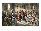 Marriage of Pocahontas to John Rolfe, Jamestown Colony, 1614 Giclee Print