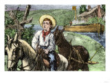 James A. Garfield as a Boy, Working as a Mule Rider Towing a Canal Boat Giclee Print