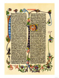 Page of Gutenberg's 42-Line Bible, Printed in the 1450s, Probably the First Use of Movable Type Giclee Print