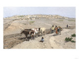 Pueblo Farmer Plowing the Soil Near Laguna Pueblo, New Mexico, 1800s Giclee Print