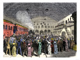 James Garfield Cheered as He Arrives by Train in Cleveland after His Nomination for President, 1880 Giclee Print