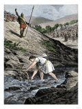 David Picking a Stone with Which to Fight Goliath, a Huge Philistine Warrior Giclee Print
