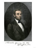 Abraham Lincoln in Springfield, Illinois in 1861, with His Autograph Giclee Print