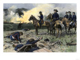 Union General Ulysses S. Grant on Horseback with His Officers on a Civil War Battlefield Giclee Print