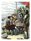 Walter Raleigh and His Expedition at Trinidad, Off South America, 1595 Giclee Print