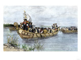 Antoine de la Mothe, Sieur de Cadillac Landing on the Shore of Lake Saint Clair, 1701, Giclee Print