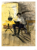 Abe Lincoln as a Boy Reading by Firelight in His Family's Cabin Giclee Print
