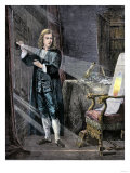 Isaac Newton Using a Prism to Analyze the Colors in a Ray of Light Giclee Print
