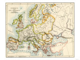 Map of Europe in the Time of Charlemagne, 768-814 Ad Giclee Print