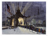 Coffin of President Garfield in the Public Catafalque, a Night View, 1881 Giclee Print