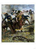 Molly Pitcher Firing Her Fallen Husband's Cannon at the Battle of Monmouth, Revolutionary War, 1778 Giclee Print