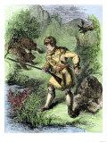 Davy Crockett Facing Grizzly Bears Giclee Print