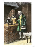 Antoine-Laurent Lavoisier Conducting an Experiment in His Laboratory, 1700s Giclee Print