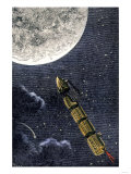 Projectile Train to the Moon, a Suggested Form of Space Travel, 1870s Giclee Print
