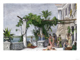 Roman Emperor Tiberius Enjoying His Villa on Capri Giclee Print