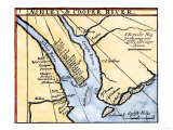 Colonial Map of the Ashley and Cooper Rivers, Site of Charleston, South Carolina, 1600s Giclee Print