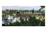 Northern Pacific Railroad Bridge over the Mississippi River at Brainerd, Minnesota, 1871 Giclee Print