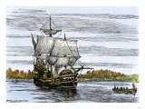 Pilgrim Landing Party from the Mayflower in Plymouth Harbor Giclee Print