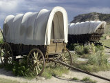 Restored Covered Wagons at Scotts Bluff National Monument on the Oregon Trail in Nebraska Photographic Print
