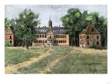 Early View of William and Mary College, Williamsburg, Virginia, 1700s Giclee Print