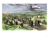 Immigrants and Other Workers Laying Track for the Transcontinental Railroad across Nebraska, 1860s Giclee Print