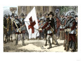 John Endicott Cutting the Cross Out of the King's Banner in Massachusetts Bay Colony, 1600s Giclee Print