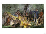 Moravian Missionary David Zeisberger Preaching to Native Americans in Pennsylvania, 1760s Giclee Print