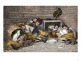 Homeless Street Boys Sleeping in an Alley in New York City, 1890s Giclee Print