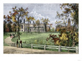 Harvard College in Cambridge, Massachusetts, 1870s Giclee Print