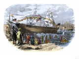 Launch of Shipbuilder Donald Mckay's Clipper Ship Flying Cloud in Boston Giclee Print