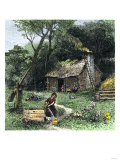 Pioneer Woman Getting Water from a Well Near Her Log Cabin, Carolina Giclee Print